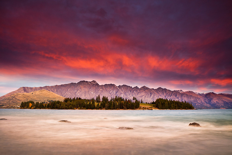 The Remarkables and Lake Wakatipu at sunset. Queenstown New Zealand - stock photo, canvas, fine art print