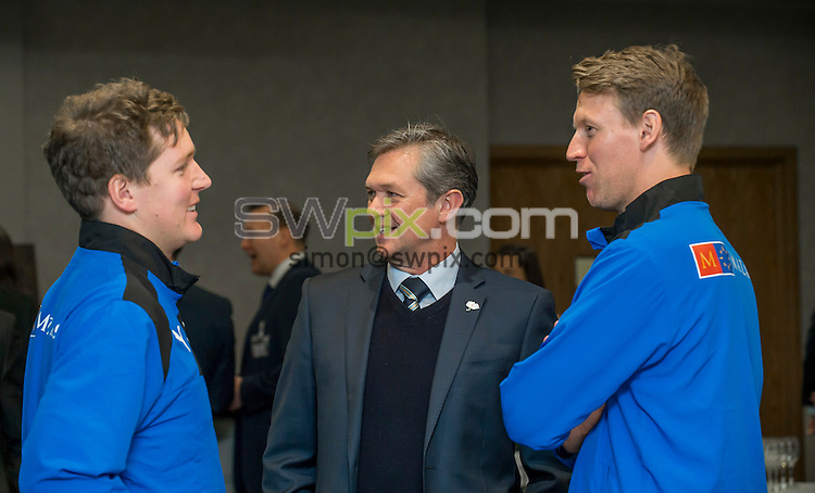 Picture by Allan McKenzie/SWpix.com - 08/03/16 - Cricket - Yorkshire County Cricket Club Sponsor's Evening 2016 - Headingley Lodge, Leeds, England - Mark Arthur talks to Gary Ballance & Steve Patterson.
