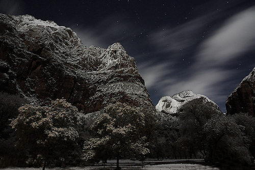 Zion Canyon after a nightime snowfall at Zion National park,Utah