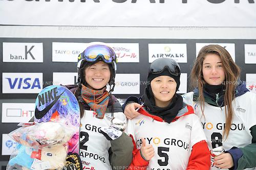 (L-R) Liu Jiayu, Cai Xuetong (CHN), Clemence Grimal (FRA), FEBRUARY 14, 2016 - Snowboarding : Award ceremony of FIS World Cup women's snowboard halfpipe in Sapporo, Japan. (Photo by Hiroyuki Sato/AFLO)