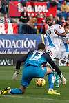 Deportivo de la Coruña´s goalkeeper Fabricio and Sidnei during 2014-15 La Liga match between Atletico de Madrid and Deportivo de la Coruña at Vicente Calderon stadium in Madrid, Spain. November 30, 2014. (ALTERPHOTOS/Victor Blanco)