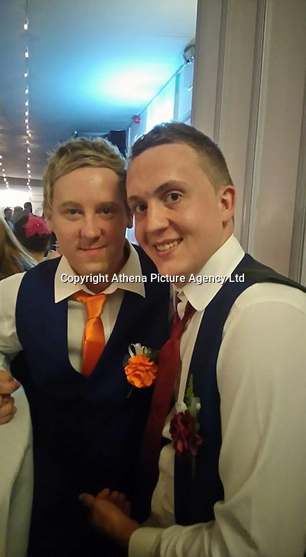 COPY BY TOM BEDFORD<br /> Pictured: Ben Jones (R) with partner Ross Gunter (L), image taken from his open facebook account<br /> Re: Security staff hired for an event at a bar have been accused of mocking and turning away a disabled customer during celebrations for Pride Cymru on Saturday night.<br /> Ben Jones, who suffers from Huntington's Disease, was out with friends on Saturday evening and the group went to Chapel 1877 on Churchill Way in Cardiff at around 10pm.<br /> But a spokesman for the security staff refuted the claims, saying a judgment was made on the grounds of health and safety of individuals on the night.<br /> One of the symptoms of Ben's condition means that he has frequent involuntary body movements.