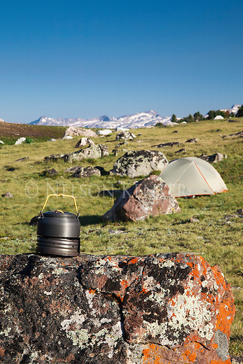 Tent and cook pot at a backpack camp in the beartooth mountains