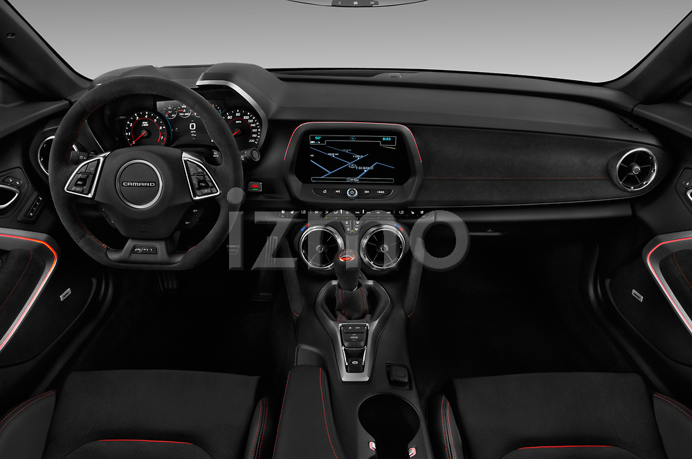 Stock photo of straight dashboard view of 2018 Chevrolet Camaro ZL1 2 Door Coupe Dashboard