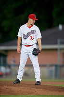 Auburn Doubledays relief pitcher Connor Zwetsch (37) looks in for the sign during a game against the Batavia Muckdogs on June 15, 2018 at Falcon Park in Auburn, New York.  Auburn defeated Batavia 5-1.  (Mike Janes/Four Seam Images)