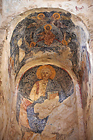 The inetrior & Byzantine frescos of the Byzantine Church of St Sophia in the Monastery of Christ The Giver Of Life built by Manuel Kantakouzenos in the late 1300's.  Mystras ,  Sparta, the Peloponnese, Greece. A UNESCO World Heritage Site