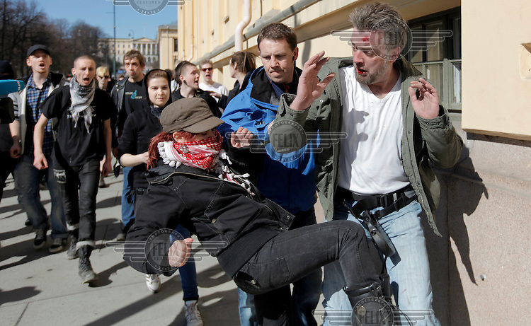 Norwegian Defence League held their first rally in Oslo on April 9, 2011. Only a handuful of people turned up, and NDL were outnumbered by media representatives. In another part of town opponents held a counter demonstration. A man was alleged to have have called rasist remarks and hit a woman, and was subsequently beaten by protesters. The man was eventually rescued by a plain clothed police man.