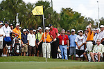 DORAL, FL. - Tiger Woods chips for a birdie from the fringe on hole 6 during final round play at the 2009 World Golf Championships CA Championship at Doral Golf Resort and Spa in Doral, FL. on March 15, 2009