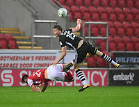 Rotherham United's Kieffer Moore is fouled by Lincoln City's Rob Dickie<br /> <br /> Photographer Chris Vaughan/CameraSport<br /> <br /> The Carabao Cup First Round - Rotherham United v Lincoln City - Tuesday 8th August 2017 - New York Stadium - Rotherham<br />  <br /> World Copyright &copy; 2017 CameraSport. All rights reserved. 43 Linden Ave. Countesthorpe. Leicester. England. LE8 5PG - Tel: +44 (0) 116 277 4147 - admin@camerasport.com - www.camerasport.com