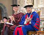 Jeffrey Bethke, executive vice president and President A. Gabriel Esteban, Ph.D., applaud the <br /> DePaul University faculty during the awards ceremony Thursday, Aug. 31, 2017, at the annual Academic Convocation. (DePaul University/Jamie Moncrief)