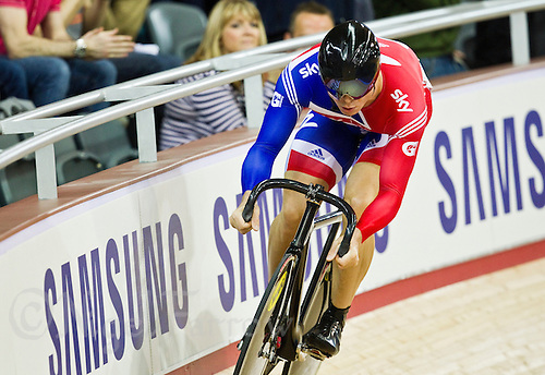 19 FEB 2012 - LONDON, GBR - Great Britain's Sir Chris Hoy (GBR) attempts to qualify for the Men's Sprint during the UCI Track Cycling World Cup, and London Prepares test event for the 2012 Olympic Games, in the Olympic Park Velodrome in Stratford, London, Great Britain (PHOTO (C) 2012 NIGEL FARROW)