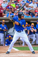 Wisconsin Timber Rattlers third baseman Dallas Carroll (14) at bat during a Midwest League game against the Cedar Rapids Kernels on August 6, 2017 at Fox Cities Stadium in Appleton, Wisconsin.  Cedar Rapids defeated Wisconsin 4-0. (Brad Krause/Four Seam Images)