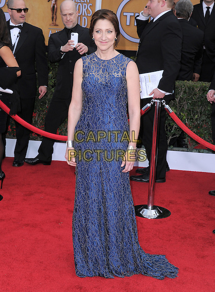 Edie Falco.Arrivals at the 19th Annual Screen Actors Guild Awards at the Shrine Auditorium in Los Angeles, California, USA..27th January 2013.SAG SAGs full length dress sleeveless  blue lace .CAP/DVS.©DVS/Capital Pictures.