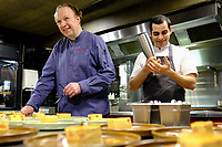 MELBOURNE, 30 June 2017 – Philippe Mouchel and Simon Consentino at work in the kitchen during a dinner celebrating Philippe Mouchel's 25 years in Australia with six chefs who worked with him in the past at Philippe Restaurant in Melbourne, Australia.