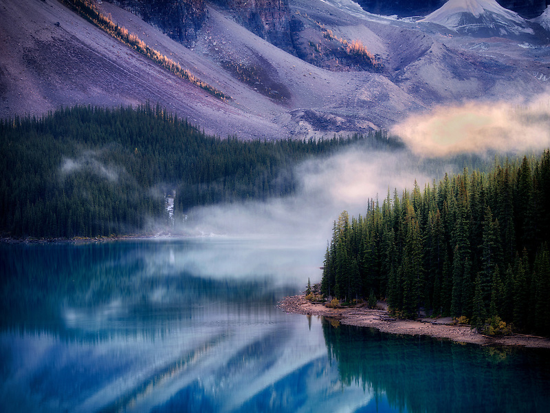 Moraine Lake with fog. Banff National Park, Canada