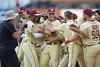 The Florida State Seminoles celebrate after defeating the North Carolina Tar Heels during the 2017 ACC Baseball Championship Game at Louisville Slugger Field on May 28, 2017 in Louisville, Kentucky.  The Seminoles defeated the Tar Heels 7-3.  (Brian Westerholt/Four Seam Images)