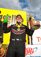 Sep 29, 2019; Madison, IL, USA; NHRA top fuel driver Billy Torrence celebrates after winning the Midwest Nationals at World Wide Technology Raceway. Mandatory Credit: Mark J. Rebilas-USA TODAY Sports