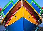 Colourful boat in harbour at Mgarr, island of Gozo, Malta