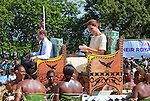 """CATHERINE, DUCHESS OF CAMBRIDGE AND PRINCE WILLIAM.seated in chairs are carried on the shoulders of local men and women on arrival at Funafuti, Tuvalu_18/09/2012.Mandatory credit photo: ©DIASIMAGES/NEWSPIX INTERNATIONAL..""""NO UK USE FOR 28 DAYS"""" ..(Failure to credit will incur a surcharge of 100% of reproduction fees)..                **ALL FEES PAYABLE TO: """"NEWSPIX INTERNATIONAL""""**..IMMEDIATE CONFIRMATION OF USAGE REQUIRED:.DiasImages, 31a Chinnery Hill, Bishop's Stortford, ENGLAND CM23 3PS.Tel:+441279 324672  ; Fax: +441279656877.Mobile:  07775681153.e-mail: info@newspixinternational.co.uk"""