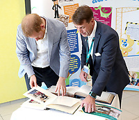 25 July 2019 - Sheffield, UK - Prince Harry Duke of Sussex looks at photos of when his mother, Princess Diana, visited the hospital 30 years ago, during a visit to Sheffield Childrens Hospital. Photo Credit: ALPR/AdMedia