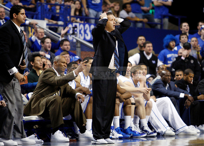 Coach Cal expresses his displeasure with a call in the first half of the UK men's basketball win over against the Georgia Bulldogs at Rupp Arena  on Jan. 18, 2011. Photo by Britney McIntosh | Staff