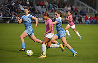 Kansas City, MO - Friday May 13, 2016: FC Kansas City forward Frances Silva (11) against Chicago Red Stars defenders Katie Naughton (5) and Arin Gilliland (3) during a regular season National Women's Soccer League (NWSL) match at Swope Soccer Village. The match ended 0-0.