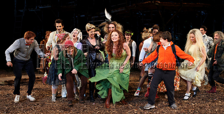 Gideon Glick, Ivan Hernandez, Jessie Mueller, Tina Johnson, Ellen Harvey, Bethany Moore, Denis O'Hare, Donna Murphy, Amy Adams, Eric R. Williams, Cooper Grodin, Josh Lamon,  Sarah Stiles, Chip Zien, Tess Soltau & Jack Broderick during the Opening Night Performance Curtain Call for  The Public Theater's 'Into The Woods' at the Delacorte Theater in New York City on 8/9/2012.