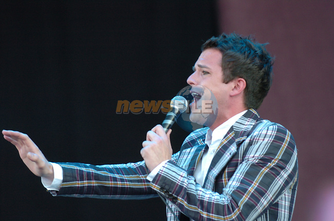 Brandon Flowers of The Killers on stage at the 2005 Oxegen Music Festival in Punchestown Racecourse, Naas, Co Kildare...Photo NEWSFILE/Colin Bell.(Photo credit should read Colin Bell/NEWSFILE)....This Picture has been sent you under the condtions enclosed by:.Newsfile Ltd..The Studio,.Millmount Abbey,.Drogheda,.Co Meath..Ireland..Tel: +353(0)41-9871240.Fax: +353(0)41-9871260.GSM: +353(0)86-2500958.email: pictures@newsfile.ie.www.newsfile.ie.FTP: 193.120.102.198.