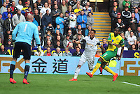 Swansea v Norwich, Liberty Stadium, Saturday 29th march 2014...<br /> <br /> <br /> Swansea Jonathan De Guzman coming in for a shot on goal