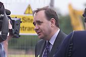 Alex Salmond at the Larbert High School site - a PFI venture... Pic Donald MacLeod