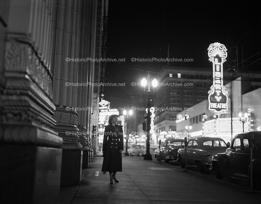 9969-530409-06SW Broadway, looking south, at night, April 9, 1953