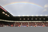 Sunday, 19 October 2014<br /> Pictured:  A general view of the match at as a Rainbow breaks out across the sky above the stadium<br /> Re: Barclay's Premier League, Stoke City FC v Swansea City FC v at Britannia Stadium, Stoke, Staffordshire,UK.