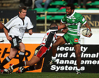 Manawatu winger Lote Raikabula looks for support in the tackle of Siale Piutau during the Air NZ Cup rugby match between Manawatu Turbos and Counties-Manukau Steelers at FMG Stadium, Palmerston North, New Zealand on Sunday, 2 August 2009. Photo: Dave Lintott / lintottphoto.co.nz