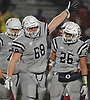 Michael Scibelli #68 of Oceanside reacts after a Freeport turnover on downs gave the ball back to the Sailors in the Nassau County Conference I varsity football final at Hofstra University on Saturday, Nov. 18, 2017. He recorded two sacks and made seven tackles in Oceanside's 17-0 win.