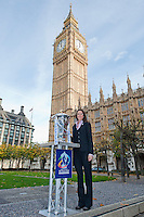 PICTURE BY ALEX BROADWAY/SWPIX.COM - Rugby League - RLWC2013 - Rugby League World Cup Parliament Visit - Westminster, London, England  - 31/10/12 - MP's have their photograph taken with the Rugby League World Cup outside the Houses of Parliament. Sally Bolton.