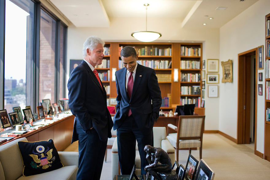 Democratic presidential candidate Sen. Barack Obama, D-Ill., meets with former President Bill Clinton in his New York office...Photo by Brooks Kraft........