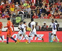 Philadelphia, PA - Tuesday June 14, 2016: Harold Cummings, Gabriel Torres, Roderick Miller prior to a Copa America Centenario Group D match between Chile (CHI) and Panama (PAN) at Lincoln Financial Field.