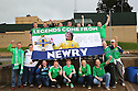 TO GO WITH STORY BY HENRY MCDONALD NORTHERN IRELAND & REPUBLIC OF IRELAND SOCCER FANS:  Newry's Northern Ireland soccer fans - Newry man Ally McKenzie (centre with scarf)  poses with his fellow Newry supporters with their new banner which they will be taking along for the UEFA Euros 2016 next month in France. Photo/Paul McErlane