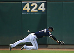 Reno Aces' Todd Glaesmann dives for a ball at Greater Nevada Field, in Reno, Nev., on Wednesday, Aug. 10, 2016.  <br /> Photo by Cathleen Allison