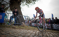Christine Majerus (LUX/Boels-Dolmans) turning up the Koppenberg cobbles<br /> <br /> 25th Koppenbergcross 2016