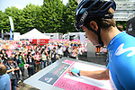 Mikel Landa Meana (ESP) Movistar Team at sign on before the start of Stage 13 of the 2019 Giro d'Italia, running 196km from Pinerolo to Ceresole Reale (Lago Serrù), Italy. 24th May 2019<br /> Picture: Gian Mattia D'Alberto/LaPresse | Cyclefile<br /> <br /> All photos usage must carry mandatory copyright credit (© Cyclefile | Gian Mattia D'Alberto/LaPresse)