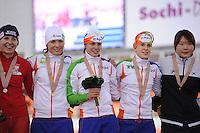 SPEEDSKATING: SOCHI: Adler Arena, 24-03-2013, Essent ISU World Championship Single Distances, Day 4, podium Team Pursuit Ladies, © Martin de Jong