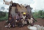 Landless Batwa pygmies in Rwanda, nr Kibeho.