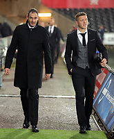 (L-R) Swansea manager Paul Clement and Alfie Mawson of Swansea City arrive prior to the game during the Carabao Cup Fourth Round match between Swansea City and Manchester United at The Liberty Stadium, Swansea, Wales, UK. Tuesday 24 October 2017