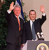 Washington, DC - July 15, 1999 -  United States President Bill Clinton and new Prime Minister Ehud Barak of Israel wave following a press availability in the Rose Garden at the White House on Thursday, 15 July, 1999..Credit: Ron Sachs / CNP