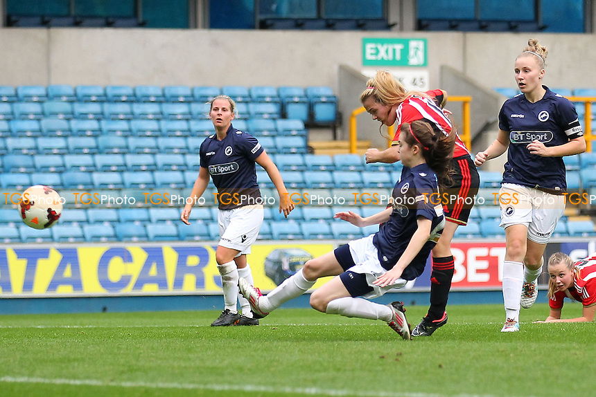 Abbey Joice of Sunderland AFC Ladies scores the fourth goal for her team - Millwall Lionesses vs Sunderland AFC Ladies - FA Womens Super League Football at Milwall FC, the New Den, London - 26/10/14 - MANDATORY CREDIT: Gavin Ellis/TGSPHOTO - Self billing applies where appropriate - contact@tgsphoto.co.uk - NO UNPAID USE
