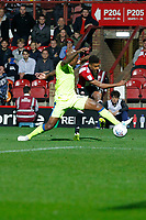 Ollie Watkins of Brentford fires in the cross during the Sky Bet Championship match between Brentford and Derby County at Griffin Park, London, England on 26 September 2017. Photo by Carlton Myrie / PRiME Media Images.