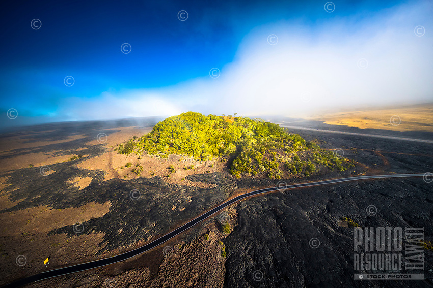 An aerial view from a helicopter of Pu'u Huluhulu, Saddle Road, Hawai'i Island.