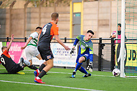 Pictured: Josh Thomas of Swansea City u19's scores the opening goal during the FAW youth cup final between Swansea City and The New Saints at Park Avenue in Aberystwyth Town, Wales, UK.<br /> Wednesday 17 April 2019