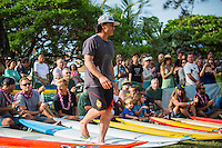 Waimea Bay, North Shore of Oahu, Hawaii.  December 4 2014) Ross Clarke Jones (AUS). - The Opening Ceremony of the 2014 Quiksilver In Memory of Eddie Aikau contest was held this afternoon in the park at Waimea Bay. This winter, the big wave riding event celebrates a special milestone of 30 years. <br /> The Quiksilver In Memory of Eddie Aikau is a one-day big wave riding event that only takes place if and when waves meet a 20-foot minimum height, during the holding period of December 1 through February 28, each Hawaiian winter. The official Opening Ceremony with the Aikau Family will be held on Thursday, December 4th, 3pm, at Waimea Bay.<br />  <br /> &quot;The Eddie&quot; is the original big wave riding event and stands as the measure for every big wave event that exists in the world today. It has become an icon of surfing through its honor, integrity and rarity.<br />  <br /> The event honors Hawaiian hero Eddie Aikau, whose legacy is the respect he held for the ocean; his concern for the safety of all who entered it on his watch; and the way with which he rode Waimea Bay on its most giant and memorable days. <br />  <br /> Adherence to strict wave height standards has ensured its integrity; it is only held on days when waves meet or exceed the Hawaiian 20-foot minimum (wave face heights of approximately 40 feet). This was the threshold at which Eddie enjoyed to ride the Bay. It has been said that what makes The Eddie special is the times it doesn't run, because that is precisely its guarantee of integrity and quality days of giant surf.<br />  <br /> The competition has only been held a total of 8 times: it's inaugural year at Sunset Beach, and then seven more times at its permanent home of Waimea Bay. The Eddie was last held on December 9, 2009, won by California's Greg Long.   Photo: joliphotos.com
